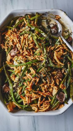 Bon Appétit's Best Green Bean Casserole Greenbean Casserole Recipe, Casserole Recipes, Thanksgiving Recipes, Holiday Recipes, Thanksgiving Green Beans, Winter Recipes, Christmas Recipes, Vegetable Dishes, Vegetable Recipes