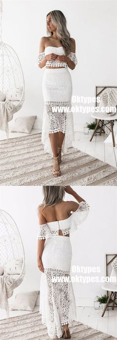 two piece white lace high low homecoming dresses, modest off the shoulder prom party dress for teens Trendy Dresses, Women's Fashion Dresses, Dress Outfits, Nice Dresses, Short Dresses, Vestidos Off White, Boho Chic, Mermaid Skirt, Lace Mermaid