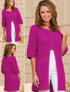 Cardigan crochet pattern  small; changes for medium, large, X-large and 2X-large are in [].