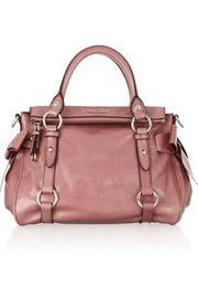 Miu Miu Small bow-embellished glossed-leather tote