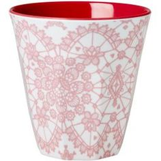 Rice Melamine Medium Cup Two Tone - Lace Print Coral