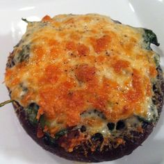 Portobello Mushroom with Spinach & Manchego Cheese. A very meaty meat-less dish!