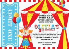 Carnival Birthday Invitation Modern Circus by PaperMoment on Etsy ...
