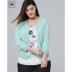 White House Black Market Plus Long-Sleeve Snap Front Cardigan ($69) ❤ liked on Polyvore featuring plus size women's fashion, plus size clothing, plus size tops, plus size cardigans, aquifer, plus size, shirts & tops, plus size green shirt, plus size green cardigan and plus size womens shirts
