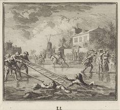 Jan Luyken   Embleem: ijs, Jan Luyken, 1695 - 1705   Een winterlandschap met een dichtgevroren rivier met schaatsers. Op de voorgrond twee mannen die door het ijs zijn gezakt. Ze worden met een ladder uit het water gehaald.