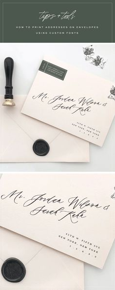 Tutorial : How to print addresses on envelopes using custom fonts : Saffron Avenue - Calligraphy Envelope, envelope tutorial, wedding envelope, printing tutorial Addressing Wedding Invitations, Cheap Wedding Invitations, Addressing Envelopes, Card Envelopes, Wedding Stationery, Custom Envelopes, Diy Wedding Envelopes, Wedding Caligraphy, Modern Caligraphy