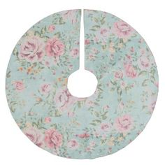 Vintage victorian shabby chic pale blue floral red brushed polyester tree skirt