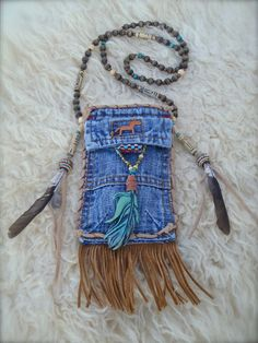tribal american INDIAN MEDICINE bag denim with FEATHER by GPyoga