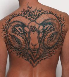 Tattoo Designs for Aries Zodiac for All Genders: Back Aries Tattoo Design ~ Zodiac Tattoo Inspiration