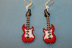 Brick stitch guitar earrings