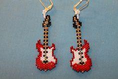 Brick stitch guitar earrings