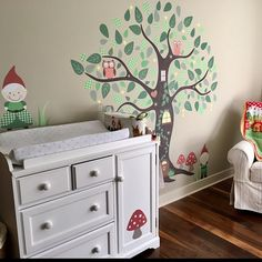 Enchanted Interiors Premium Self Adhesive Fabric Nursery Wall Art Enchanted Forest featuring Mr and Mrs Gnome around an enchanted fairy tree.