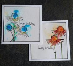 PaperArtsy: 2015 Brusho Cards {by Catherine Johnson} Paint Cards, Watercolor Cards, Watercolor Lettering, Friendship Cards, Fall Cards, Flower Cards, Greeting Cards Handmade, Birthday Cards, Happy Birthday