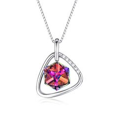 Solid Sterling Silver Oval 8x10mm BlueCubic Zircon Pendant with Chain 16 Inches