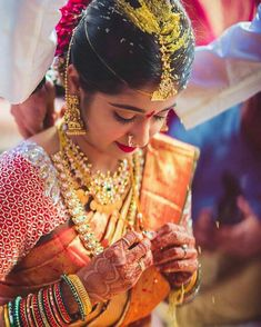 Indian Wedding Pictures, Indian Bridal Photos, Indian Bridal Fashion, Telugu Wedding, Wedding Bride, Wedding Cake, Wedding Dresses, South Indian Bride Jewellery, Bridal Jewellery
