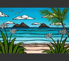 It's time for a vacation! With a swaying palm tree, tropical flowers, gorgeous blue waves, volcanos, and birds in flight, Heather Brown created a beautiful scene of Kailua, a beautiful beach near Hono