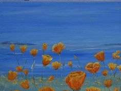 Painting Orange californian poppies and coast art for sale price includig delivery