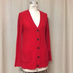 Free People Cashmere Puff Sleeve Cardigan (red) Free People super soft cashmere Cardi with a v-neck front. Pockets on either side in the front. Puff sleeve detail. 100% cashmere. In great condition! Cashmere is lightweight. Free People Sweaters Cardigans