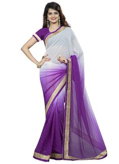 Chiffon Patch Border Work Casual Saree  Style and fair meet up in this lovely wrap. Genuine excellence turns out from your dressing style with this purple artificial chiffon easygoing saree. This flawless clothing is looking additional excellent with embelishment of patch fringe work. Accompanies coordinating pullover.