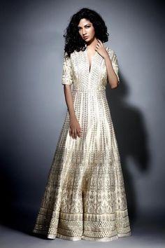 Gota Patti Pearl Raw Silk Gown | Gown | Jiya | Jivaana