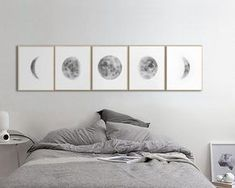 Mond Phasen Großdrucke Set 5 Aquarell Mond Phasen Moon Art