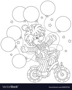 Circus Show Funny Clown Riding His Wektorowa ilustracja stockowa (bez tantiem) 1074328910 Embroidery Applique, Embroidery Patterns, Circus Crafts, Circus Show, Paper Punch Art, Coloring Book Pages, Colorful Drawings, Mandala Art, Cartoon Styles