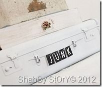 """Love the """"junk"""" letters and of course the white suitcase!"""