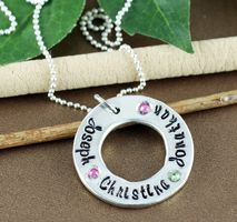 Lovable Keepsake Gifts, a trusted online store for personalized jewelry. Get the perfect gift for your loved ones! Mommy Necklace, Name Necklace, Washer Necklace, Hand Stamped Jewelry, Birthstone Necklace, Personalized Jewelry, Birthstones, Gifts For Mom, I Shop