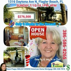 #OPENHOUSE SUNDAY 7/10/16 1PM-4PM at 1316 Daytona Ave N #FlaglerBeach, Florida; ONLY $276,500! Stop by and say hello to Pat Barton Realtor, 386-586-8265, Realty Exchange LLC, for a showing of this fully renovated 2 bed 2 bath Beach Home. New Siding... New Windows... New Kitchen with Granite Countertops... New Stainless Steel Appliances... New Tile & Carpet Flooring... Transferable Termite Bond... all this and just 2 short blocks to the ocean!