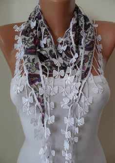 White and Purple Scarf with White Trim Edge by SwedishShop on Etsy, $9.90