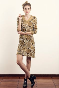 Vintage 70s Dress  1970s Emilia Bellini Silk by LaChouetteSage