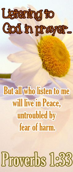 Bible Verses ♥♥♥ PROVERBS 1:33 But all who listen to me will live in peace, untroubled by fear of harm.♥♥♥