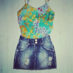 #Regata + #Saia Jeans ♥♡