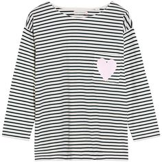 Chinti and Parker Striped organic cotton-jersey T-shirt ($100) ❤ liked on Polyvore featuring tops, t-shirts, white, stripe t shirt, organic cotton jersey, white t shirt, pocket tee and jersey t shirts