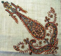 Embroidery from Kashmir-- simple stitches, intricate design Kashida Embroidery, Embroidery Motifs, Indian Embroidery, Hand Embroidery Designs, Beaded Embroidery, Motif Paisley, Indian Patterns, Art Patterns, Indian Textiles