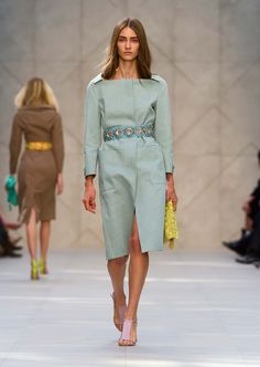 Nubuck cutaway neckline caban in green stone with gem-embellished belt - The Burberry Prorsum S/S14 Collection