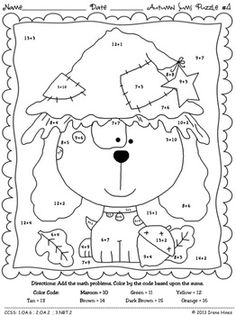 autumn addition math printables color by the code puzzles for fall - Coloring Worksheets For 1st Grade