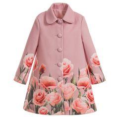 Love Made Love - Girls Pink Roses Coat | Childrensalon