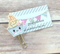 Peach/Gold/Ice Cream Cup/Sparkle Applique Paper Clip/Planner Clip/Bookmark/Journal Marker by pinkiebows on Etsy