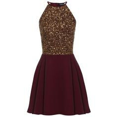 Sheen Clothing Sheen Lilli Gold Sequin Skater Dress in Burgundy (£65) ❤ liked on Polyvore featuring dresses, red, sequin cocktail dresses, short gold dresses, fit and flare cocktail dress, gold sequined dress and short red dress