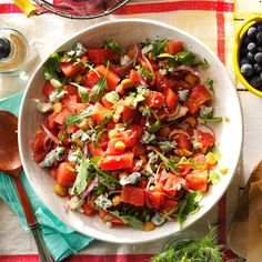 Juicy Watermelon Salad Recipe -This fruit salad has such a surprising yet fabulous mix of flavors that friends often ask for the recipe. Combine seedless watermelon varieties in yellow, red and pink for a colorful twist. —Heidi Haight, Macomb, Michigan