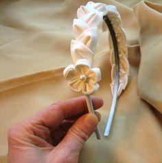 Ivory Bridal Headband Kanzashi Silk Leaves by empressbarrettes, $35.00