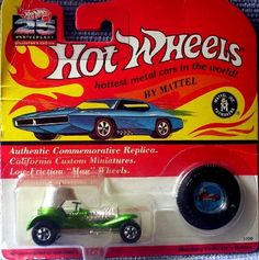 """1993 Hot Wheels Vintage 25th Anniversary Collector's Edition #5700 """"Green"""" RED BARON with Collector's Button by Mattel. $5.00. California Custom Miniatures. Low Friction """"Mag"""" Wheels. 25th Anniversary Edition. Metalflake Silver. Red Line Tires. 1993 Hot Wheels Vintage Collection Edition #5700 Green RED BARON with Collector's Button"""