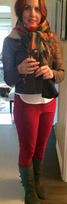 Daily outfit. Clothes. Fashion. Autumn outfit. Scarf. Red trousers. Grey boots.