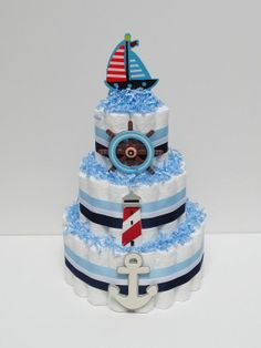 nautical diaper cakes baby | Nautical Diaper Cake Baby Shower by LanasDiaperCakeShop on Etsy, $49 ...