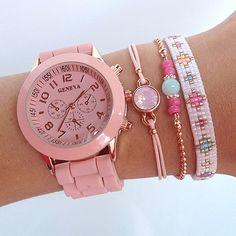 Horloge 'Vintage Pink' - Kralenschatten