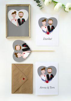 Einzigartiges Hochzeitspaket von DORO ILLUSTRATIONS auf DaWanda.com