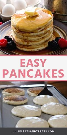 Easy Cake Recipes, Brunch Recipes, Baking Recipes, Easy Homemade Recipes, Recipes Dinner, How To Make Pancakes, Pancakes Easy, Buttermilk Pancakes, Recipe For Pancakes