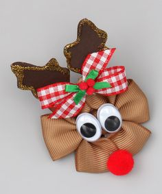 Brown Reindeer Clip by Picture Perfect Hair Bows on #zulily