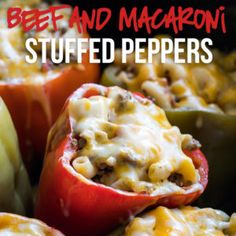 These super easy Slow Cooker Beef Macaroni Stuffed Peppers are filled with tender ground beef and cheesy macaroni, then slow cooked for a delicious dinner! Slow Cooker Corned Beef, Slow Cooker Meatloaf, Slow Cooker Recipes, Crockpot Recipes, Cooking Recipes, Slow Cooking, Pasta Recipes, Beef Macaroni, Great Recipes